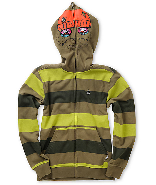 Volcom Boys Inyoface Green Stripe Face Mask Hoodie