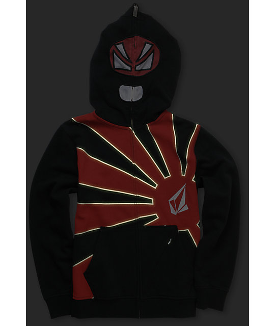 Volcom Boys Kazi Red Full Zip Face Mask Hoodie