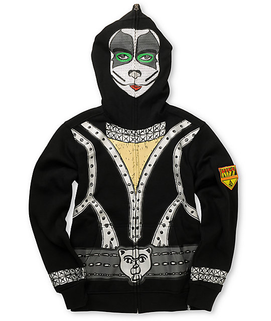 Volcom Boys Kiss Zip Up Eric Singer Face Mask Hoodie