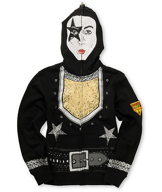 Volcom Boys Kiss Zip Up Paul Stanley Face Mask Hoodie