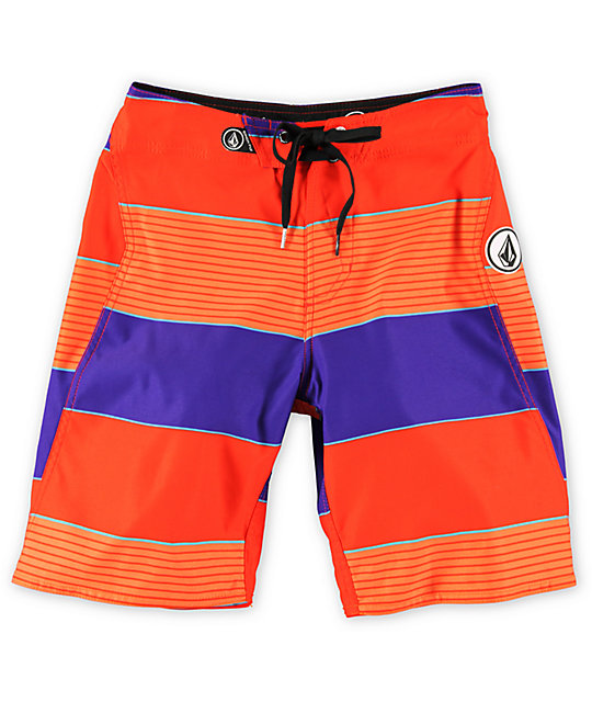 Volcom Boys Maguro Stripe Red Board Shorts