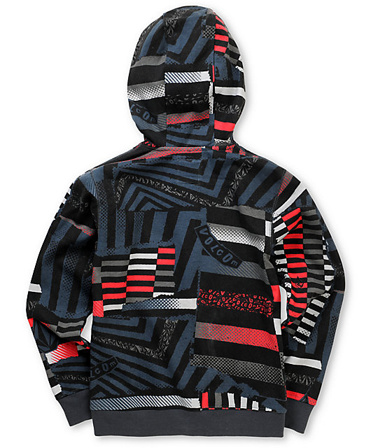 Volcom Boys Mauguro Charcoal Face Mask Zip Up Hoodie