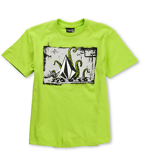 Volcom Boys Octo Stone Lime Green T-Shirt