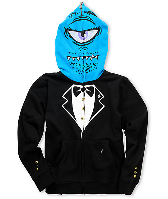 Volcom Boys One Eyed Monster Black Full Zip Face Mask Hoodie