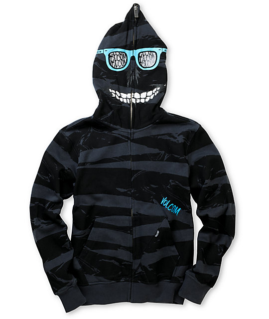 Volcom Boys Peepers Charcoal Stripe Full Zip Face Mask Hoodie
