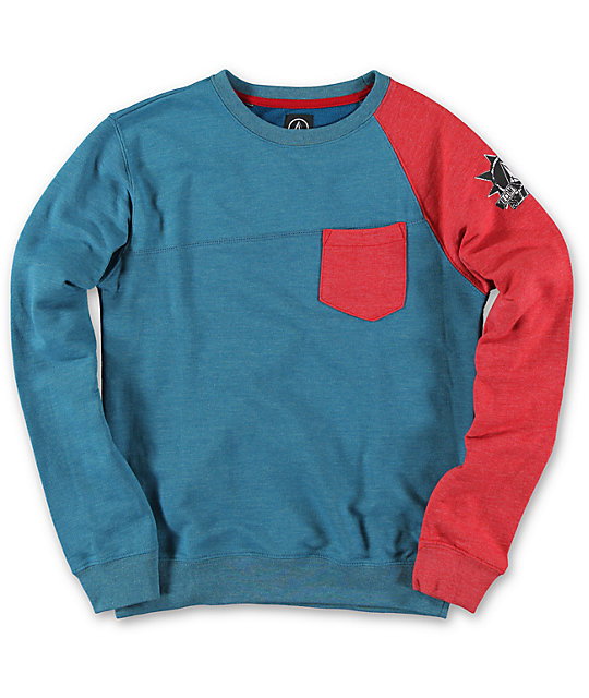 Volcom Boys Reason Blue & Red Crew Neck Pocket Sweatshirt