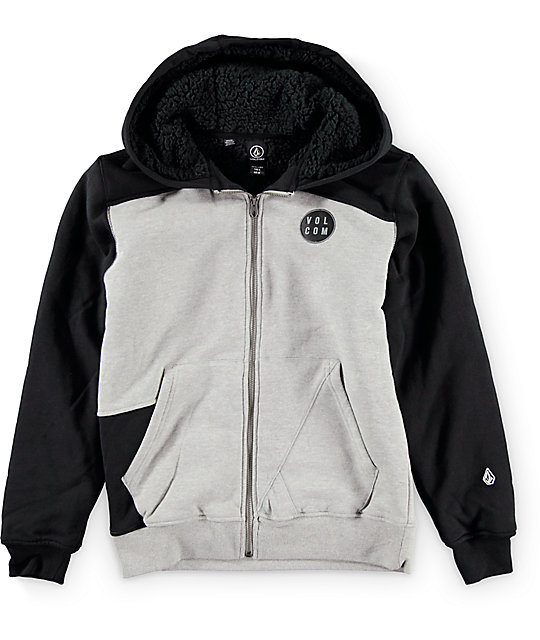 Volcom Boys Rixford Lined Zip Up Heather Grey & Black Hoodie
