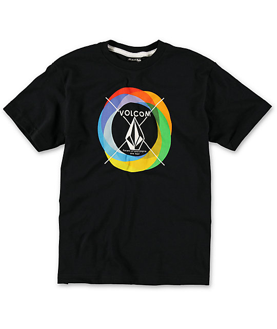Volcom Boys Round Rainbow Black T-Shirt