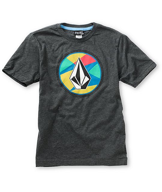Volcom Boys Stained Stone Heather Charcoal T-Shirt