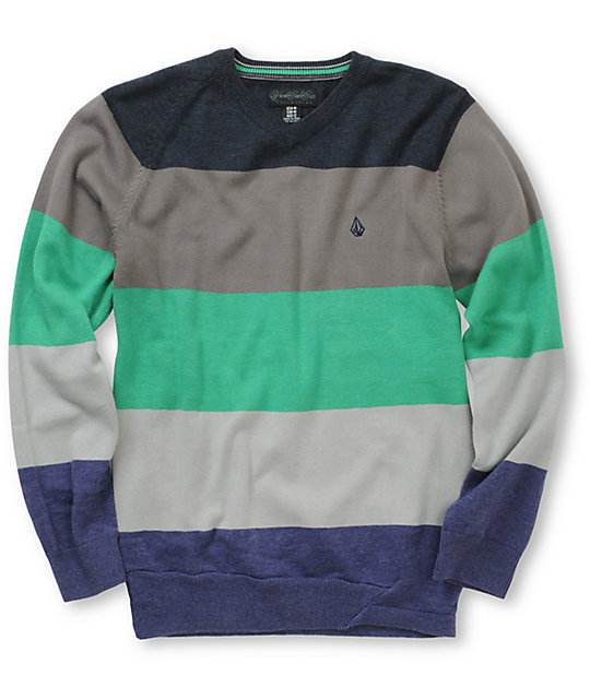Volcom Boys Standard Stripe Green V-Neck Sweater