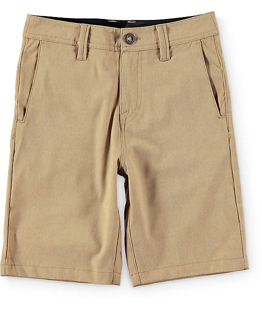 Volcom Boys Surf N Turf Static Khaki Hybrid Shorts