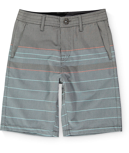 Volcom Boys Surf N Turf Stripe Hybrid Shorts