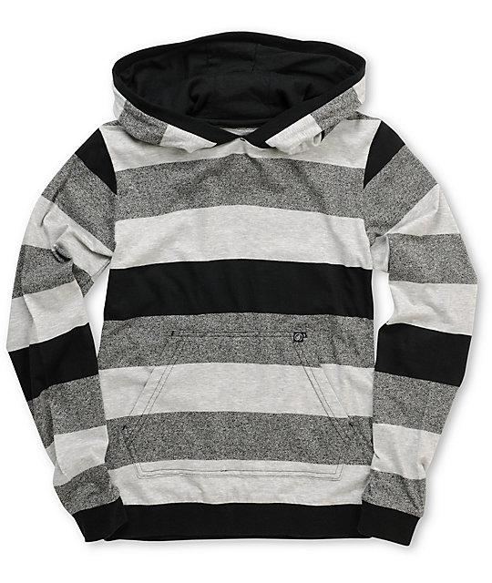 Volcom Boys Transmit Grey Stripe Hooded Top