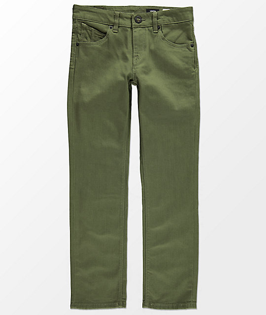 Volcom Boys Vorta Slub Military Green Straight Fit Jeans
