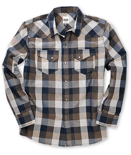 Volcom Boys Willie Navy Flannel Shirt