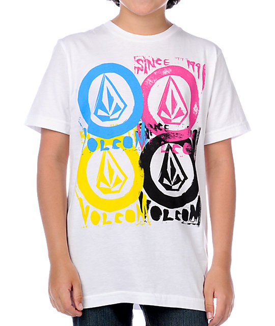 Volcom Boys Wood Stamps White T-Shirt