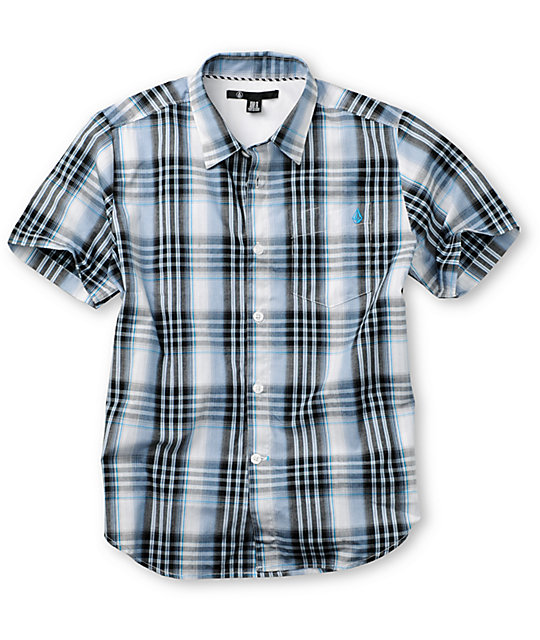 Volcom Boys X-Factor White & Blue Woven Shirt
