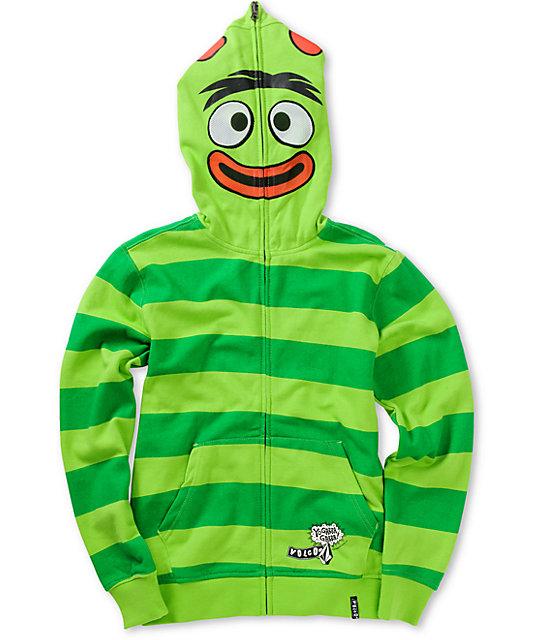 Volcom Boys Yo Gabba Gabba Brobee Green Face Mask Hoodie