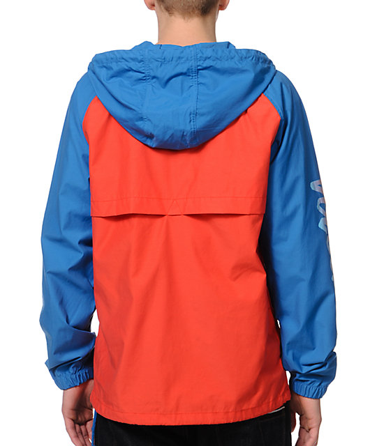 Volcom Broma Blue & Orange Anorak Windbreaker Jacket