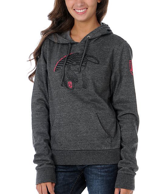 Volcom Bunny Biz Black & Pink Pullover Hoodie
