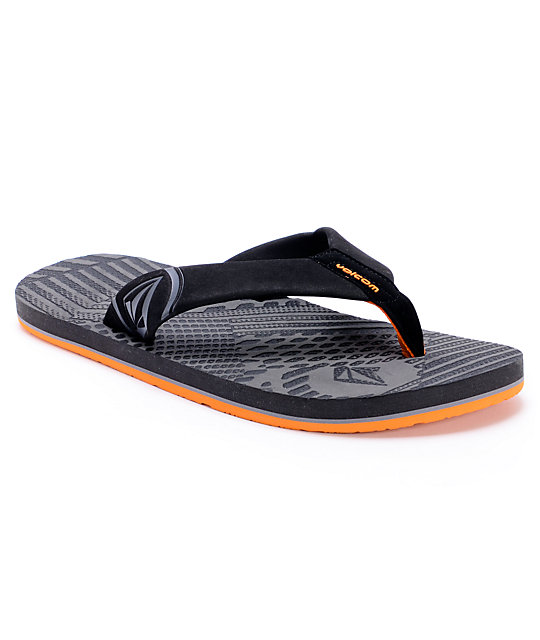 Volcom Burner Grey & Orange Creedler Sandals