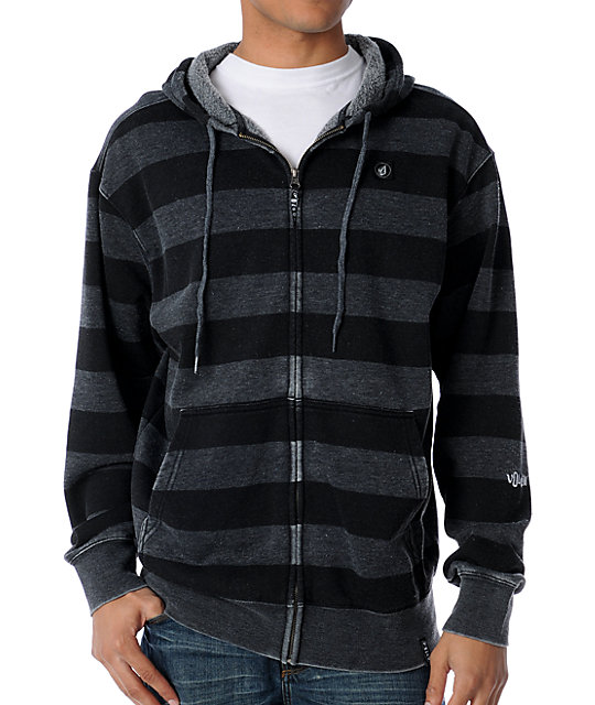 Burny Basic Black Striped Zip Up Hoodie