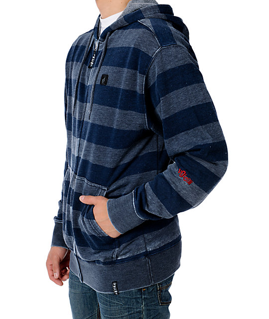 Volcom Burny Basic Striped Navy Zip Up Hoodie
