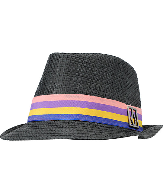 Volcom Candy Shop Black Straw Fedora Hat
