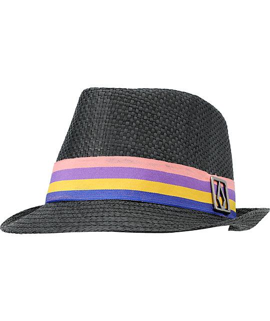 Volcom Candy Shop Black Straw Fedora Hat