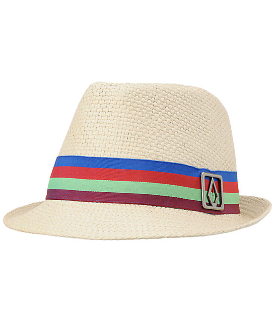 Volcom Candy Shop Natural Straw Fedora Hat