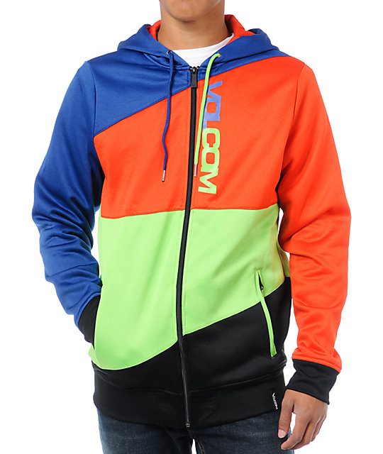 Volcom Cane Blue & Orange Mens Hydro Zip Tech Fleece Jacket