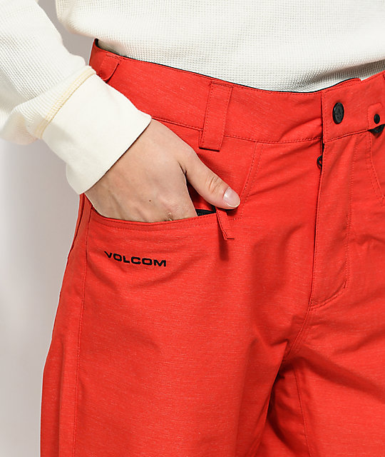 Volcom Carbon Fired Red 10K Snowboard Pants