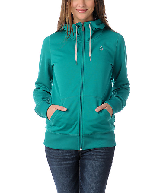Volcom Carpel 2013 Teal Full Zip Tech Fleece Jacket