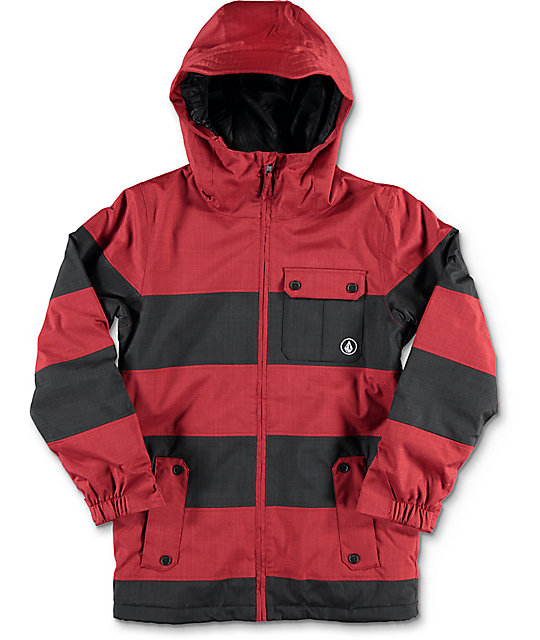 Volcom Cascade Boys Insulated Black & Red Snowboard Jacket at ...