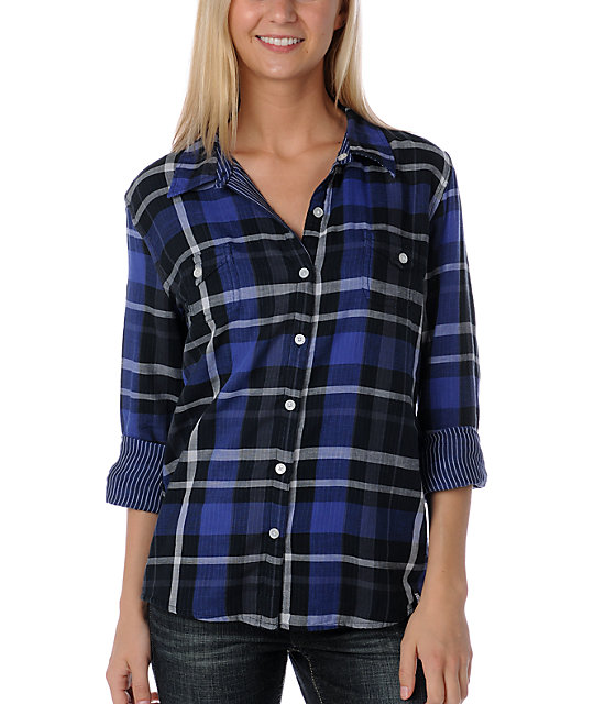 Volcom Check It Reversible Black & Blue Woven Shirt