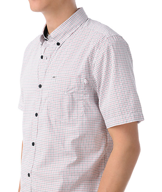 Volcom Check Out White Short Sleeve Button Up Shirt