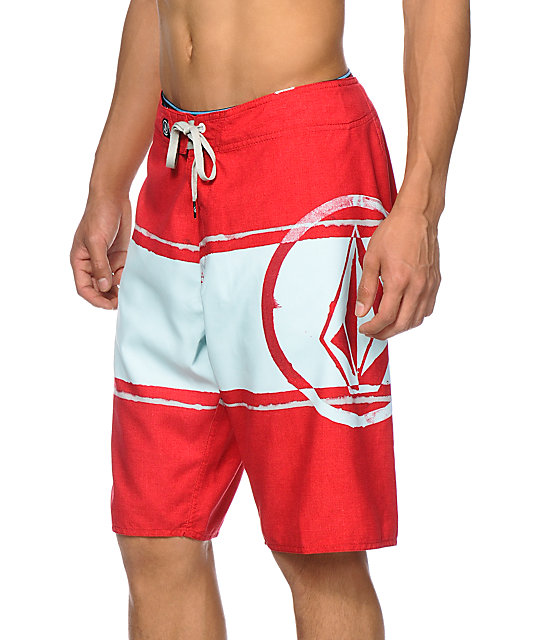 Volcom Commercial Drive Red & Mint 22 Board Shorts