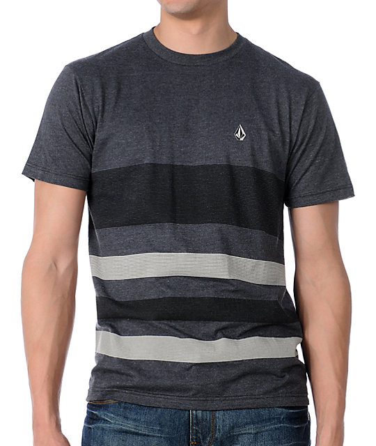 Volcom Conceivable Black & Charcoal Striped T-Shirt