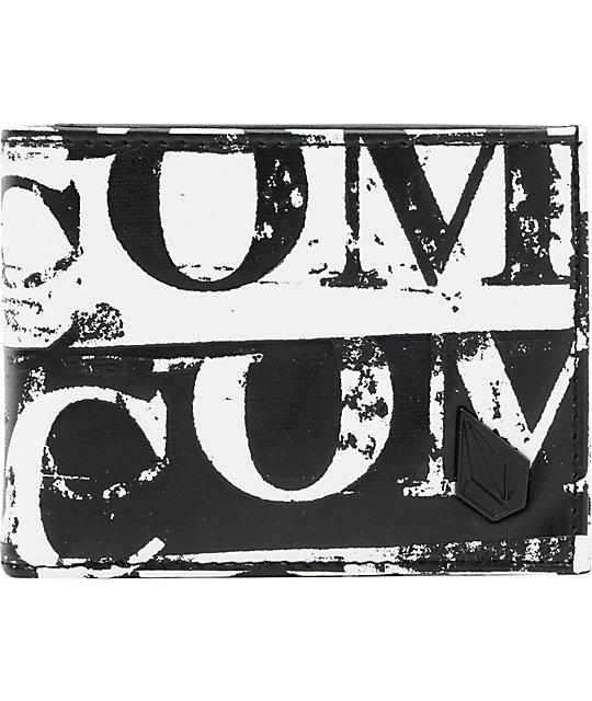 Volcom Cork Screw Black & White Tri-Fold Wallet