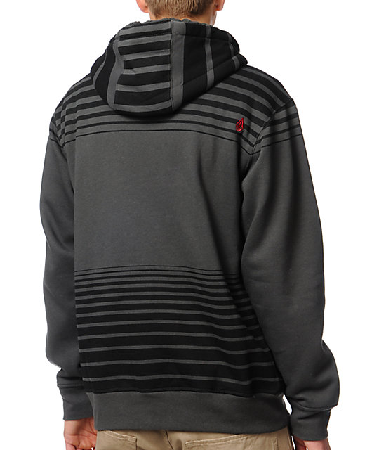 Volcom Cred Charcoal Striped Zip Up Hoodie