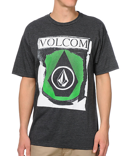 Volcom Cut Outs Charcoal & Green T-Shirt