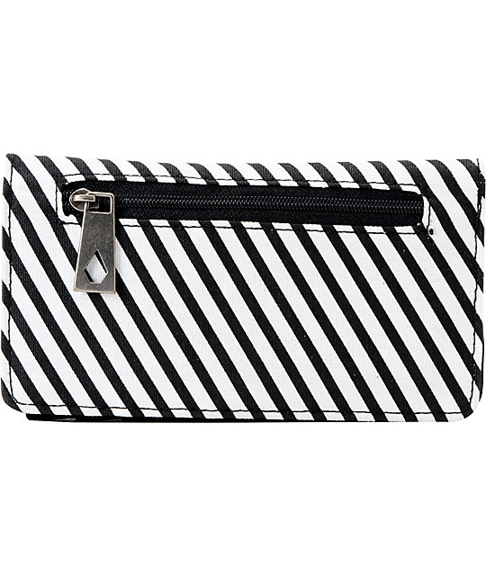 Volcom Date Black & White Stripe Canvas Wallet