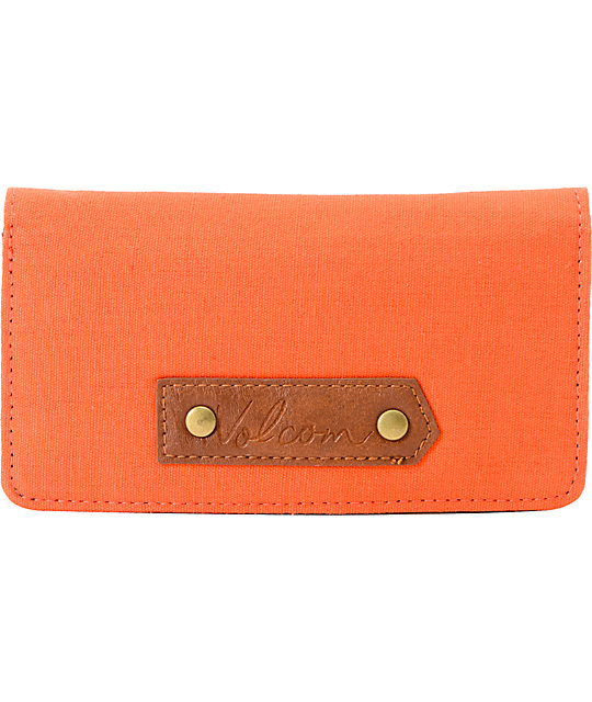Volcom Date Night Orange Canvas Wallet