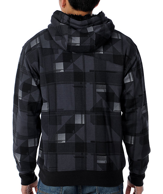 Volcom Dirked Fur-Lined Black Plaid Zip Up Hoodie