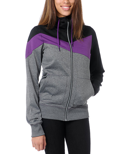 Volcom Down Fall Black & Purple Hydro Tech Fleece Jacket
