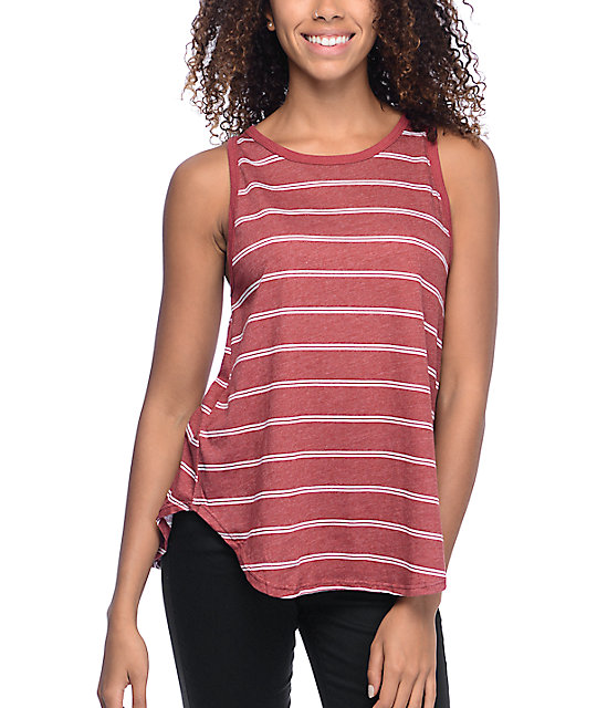 Volcom Down To Ride Red Brown Tank Top