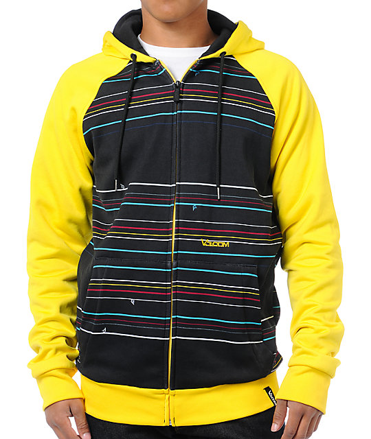 Volcom Doz Black & Yellow Mens Hydro Zip Tech Fleece Jacket