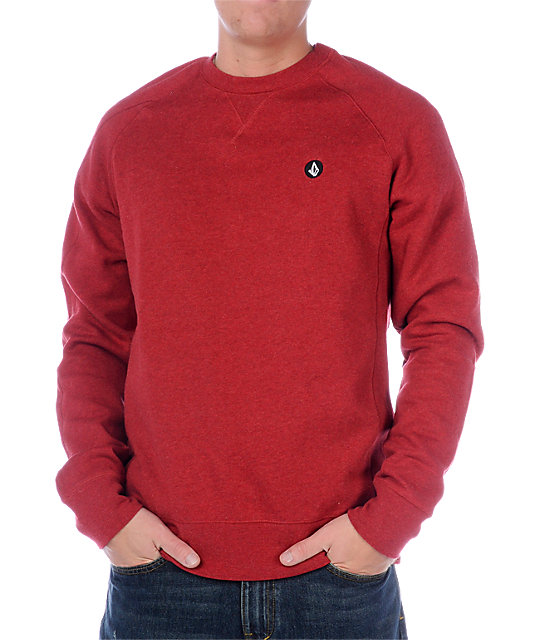 Volcom Duster Red Crew Neck Sweatshirt