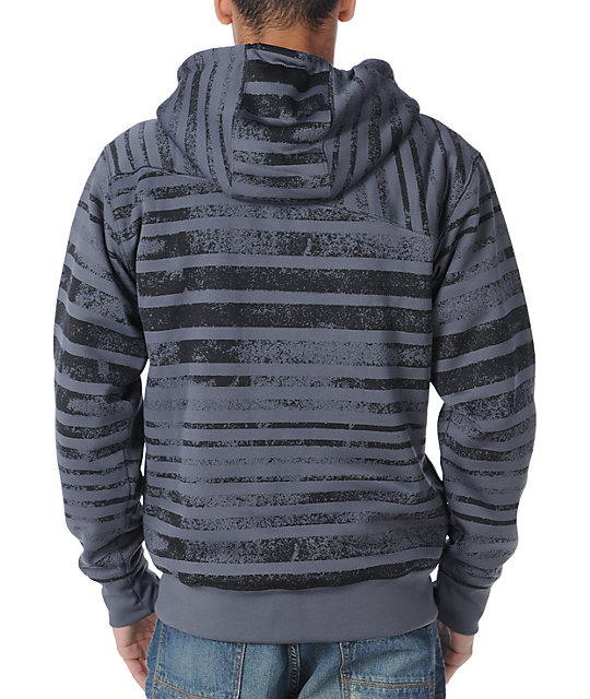 Volcom Easy Stripe Charcoal Mens Sherpa Fleece Jacket