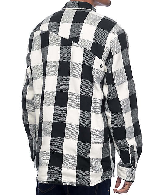 Volcom Ender Black & White Thermal Flannel Shirt
